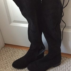 Black Suede Over the Knee Boots with Tie in Back